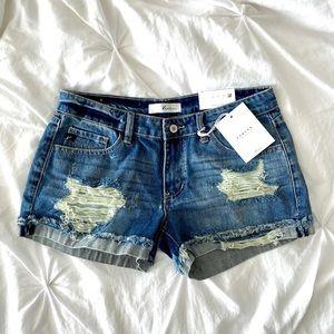 VICI KanCan Distressed Denim Shorts
